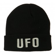UFO Embroidered Long Beanie - Black