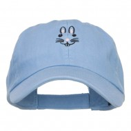 Easter Bunny Face Embroidered Low Cap - Sky Blue