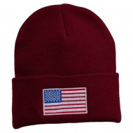 USA Flag Embroidered Long Knitted Beanie - Maroon
