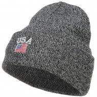 USA with Flag Embroidery Insulated Long Beanie - Zebra