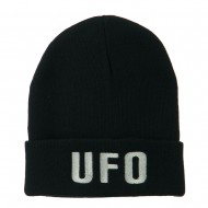 UFO Embroidered Long Beanie - Navy