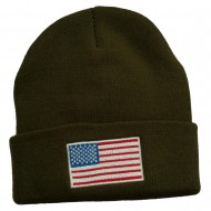 USA Flag Embroidered Long Knitted Beanie - Olive