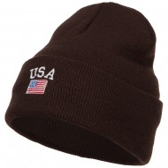 USA with Flag Embroidery Insulated Long Beanie - Brown
