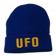 UFO Embroidered Long Beanie - Royal