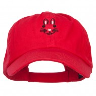 Easter Bunny Face Embroidered Low Cap - Red