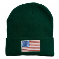 USA Flag Embroidered Long Knitted Beanie - Green