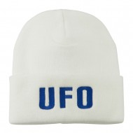 UFO Embroidered Long Beanie - White