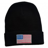 USA Flag Embroidered Long Knitted Beanie - Black