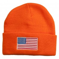 USA Flag Embroidered Long Knitted Beanie - Orange