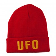 UFO Embroidered Long Beanie - Red