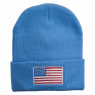 USA Flag Embroidered Long Knitted Beanie - Sky Blue