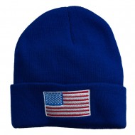 USA Flag Embroidered Long Knitted Beanie - Royal
