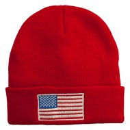 USA Flag Embroidered Long Knitted Beanie - Red