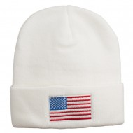 USA Flag Embroidered Long Knitted Beanie - White