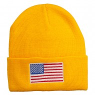 USA Flag Embroidered Long Knitted Beanie - Yellow