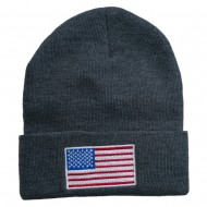 USA Flag Embroidered Long Knitted Beanie - Grey