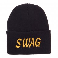 Urban Swag Embroidered Long Beanie - Black