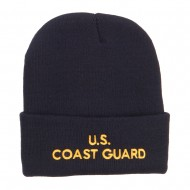 US Coast Guard Embroidered Long Beanie - Navy