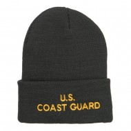 US Coast Guard Embroidered Long Beanie - Dk Grey