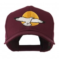 Seagull with Sun Embroidered Cap - Maroon