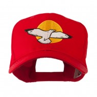 Seagull with Sun Embroidered Cap - Red