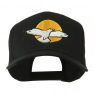 Seagull with Sun Embroidered Cap - Black