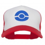 Ash Ketchum Poke Ball Embroidered Mesh Cap - White Red