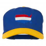 United States Map Embroidered Cap - Gold Royal