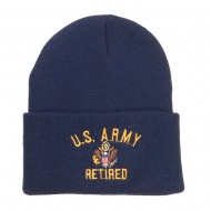 US Army Retired Military Embroidered Long Beanie - Navy