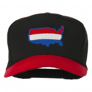 United States Map Embroidered Cap - Red Black