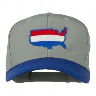 United States Map Embroidered Cap - Royal Grey