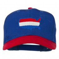 United States Map Embroidered Cap - Red Royal