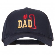 Number 1 Dad Outline Words Embroidered Solid Cotton Pro Style Cap - Navy