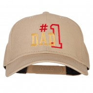 Number 1 Dad Outline Words Embroidered Solid Cotton Pro Style Cap - Khaki