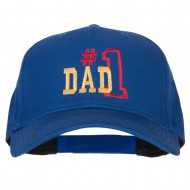 Number 1 Dad Outline Words Embroidered Solid Cotton Pro Style Cap - Royal