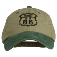 US Route 66 Embroidered Pigment Dyed Washed Cap - Khaki Green