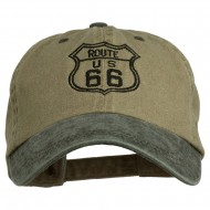 US Route 66 Embroidered Pigment Dyed Washed Cap - Khaki Black