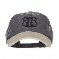US Route 66 Embroidered Pigment Dyed Washed Cap - Black Khaki