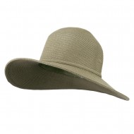 UPF 50+ Solid Cotton Paper Braid Flat Brim Hat - Sage