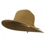 UPF 50+ Solid Cotton Paper Braid Flat Brim Hat - Bronze