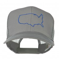 United States Embroidered Trucker Cap - Grey