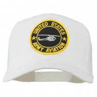 US Army Aviation Patched Mesh Cap - White