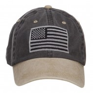 Silver American Flag Embroidered Washed Two Tone Cap - Black Khaki