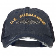 US Submarine Embroidered Low Profile Cotton Mesh Cap - Navy