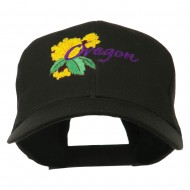USA State Oregon Flowers Embroidered Low Profile Cap - Black