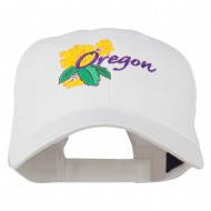 USA State Oregon Flowers Embroidered Low Profile Cap - White