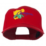 USA State Oregon Flowers Embroidered Low Profile Cap - Red