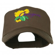 USA State Oregon Flowers Embroidered Low Profile Cap - Brown