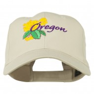 USA State Oregon Flowers Embroidered Low Profile Cap - Stone