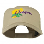 USA State Oregon Flowers Embroidered Low Profile Cap - Khaki